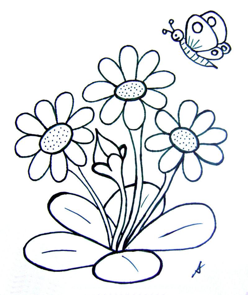 Coloriage fleurs et papillon - Coloriage fleurs maternelle ...